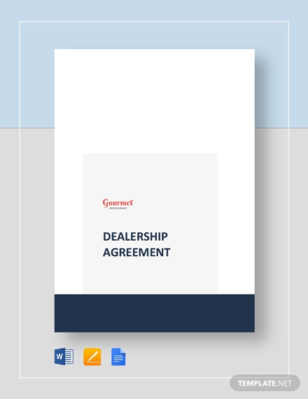 Restaurant Dealership Agreement Template
