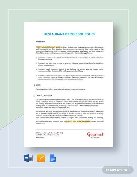Restaurant Dress Code Policy Template