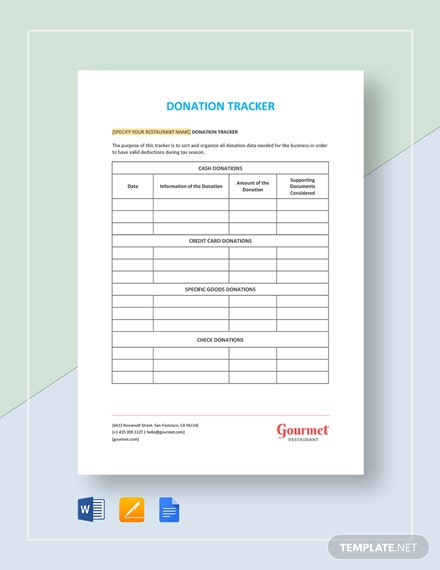 Restaurant Donation Tracker Template