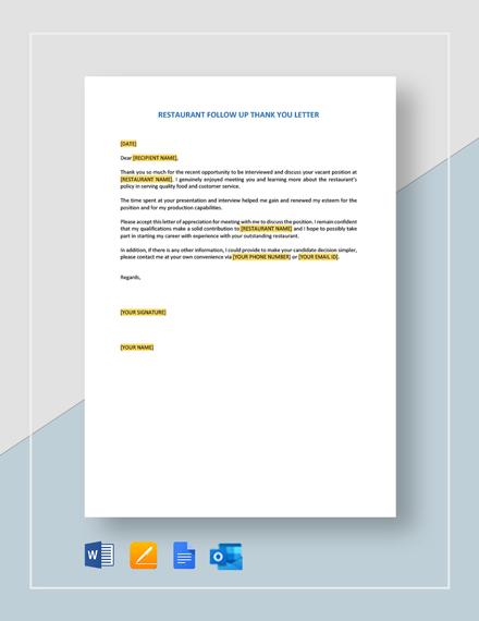 Restaurant Employment Offer Letter Template