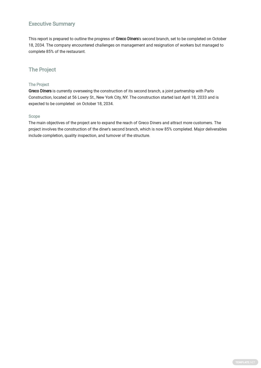 Restaurant Request for Status Report Template 1.jpe