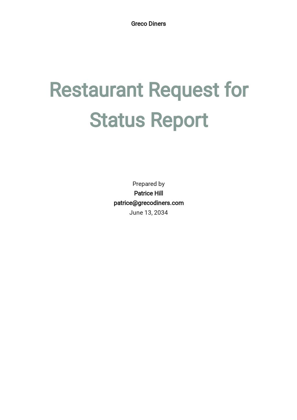 Restaurant Request for Status Report Template