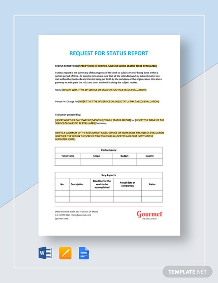 Restaurant Request for Status Report Template