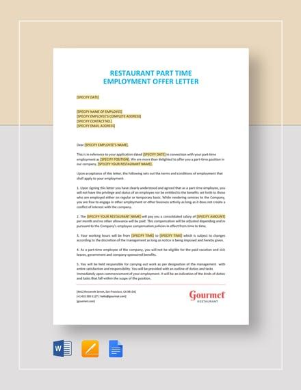Restaurant Part Time Employment Offer Letter Template