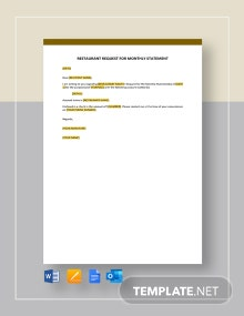 Restaurant Request for Monthly Statement Template
