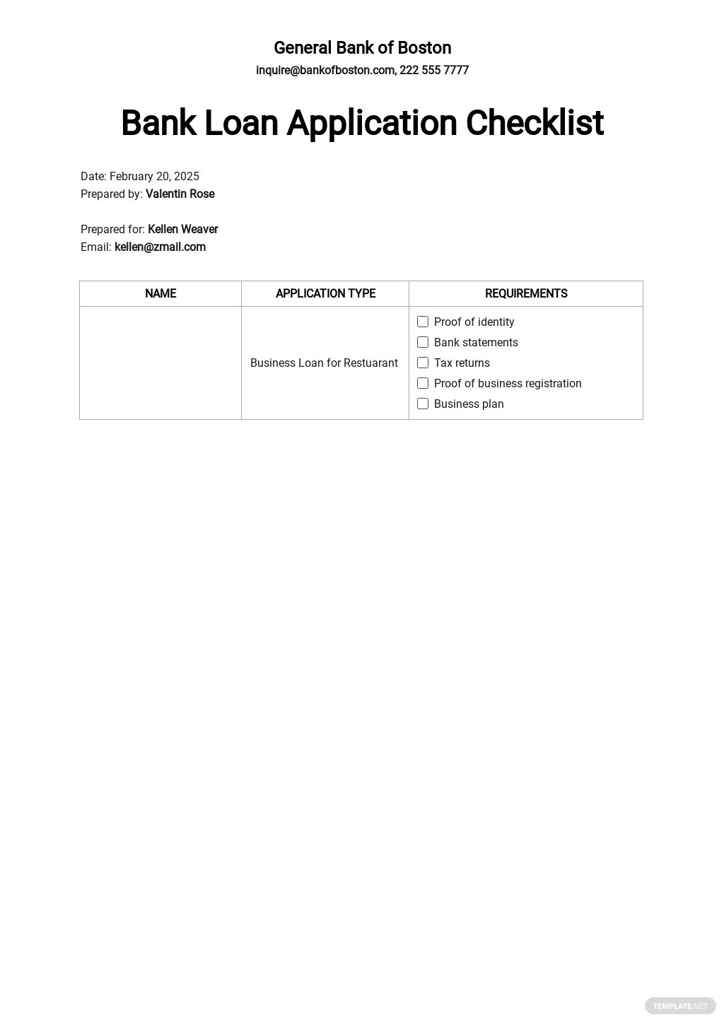 Bank Loan Application Form and Checklist for Restaurant Template.jpe