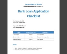 Bank Loan Application Form and Checklist for Restaurant Template