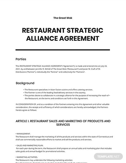 Restaurant Strategic Alliance Agreement Template