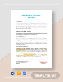 Restaurant Food Cost Analysis Template