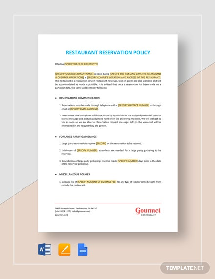 Restaurant Reservation Policy Template