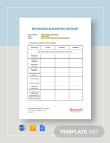 Restaurant Accounting Checklist Template