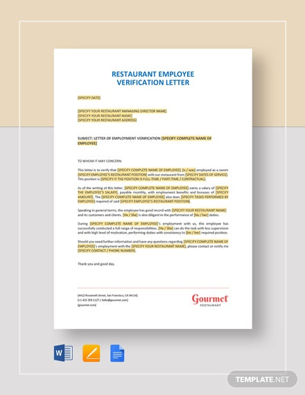 Restaurant Employee Verification Letter Template