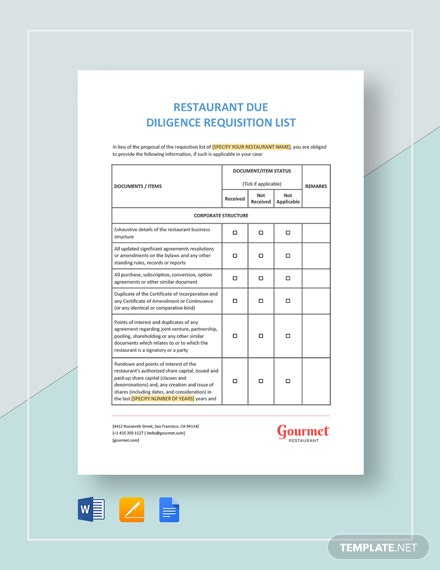 Restaurant Due Diligence Requisition List Template