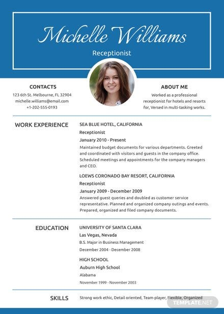 free basic receptionist resume and cv template  download 160  resumes in psd  word  publisher