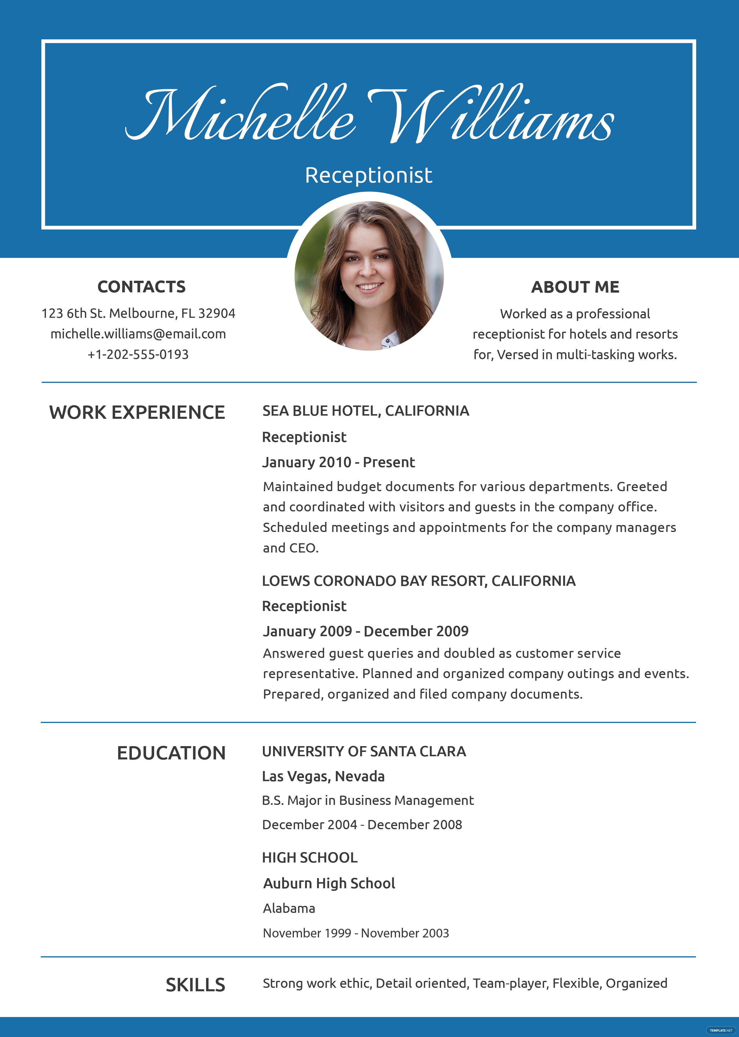 Free Receptionist Resume and CV Template in PSD, MS Word ...
