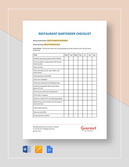 Restaurant Bartender Checklist Template