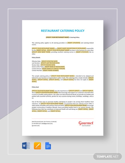 Restaurant Catering Policy Template