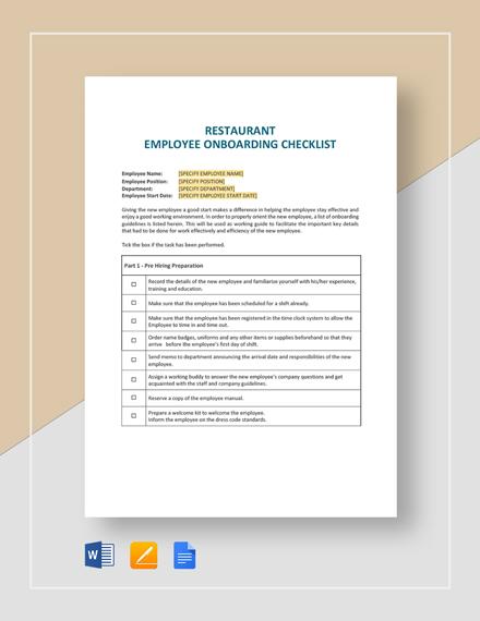 Restaurant Employee Onboarding Checklist Template