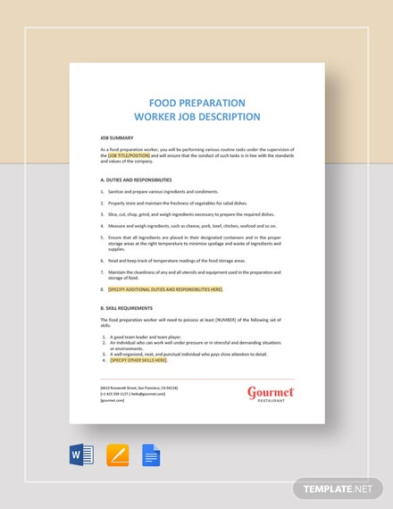 food preparation worker job description