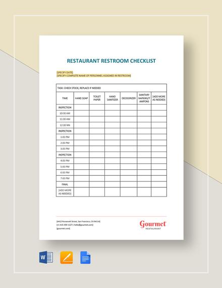 Restaurant Restroom Checklist Template