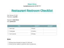 Restaurant Restroom Checklist Template