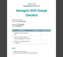 Manager's Shift Change Checklist Template