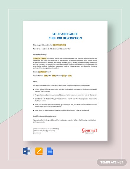 Soup and sauce Chef Job Description Template
