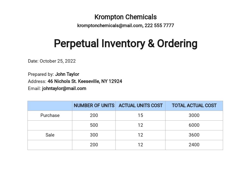 Perpetual Inventory & Ordering Template