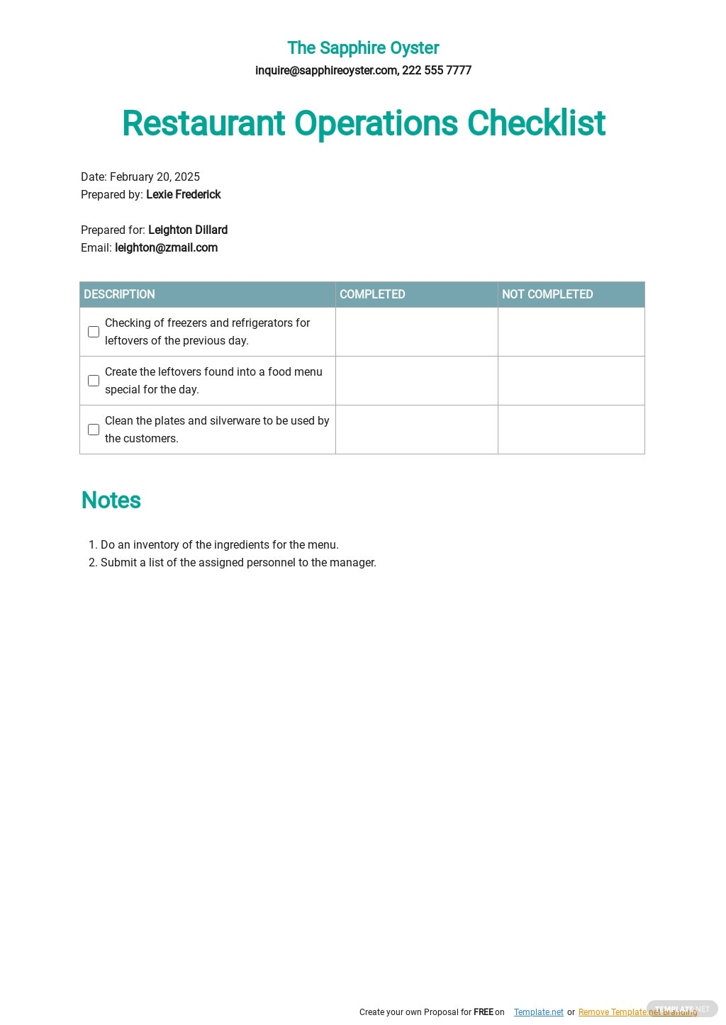 Restaurant Operations Checklist Template  - Google Docs, Word, Apple Pages