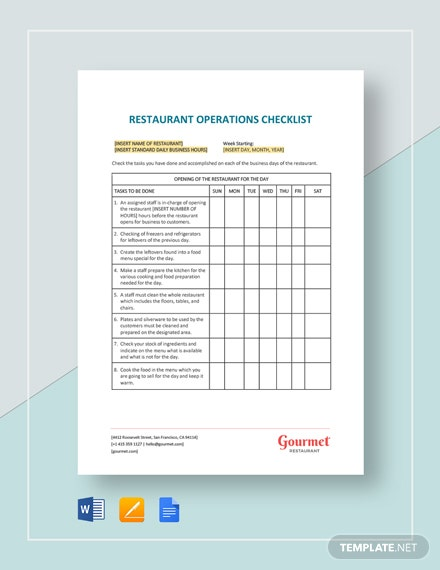 Restaurant Operations Checklist Template