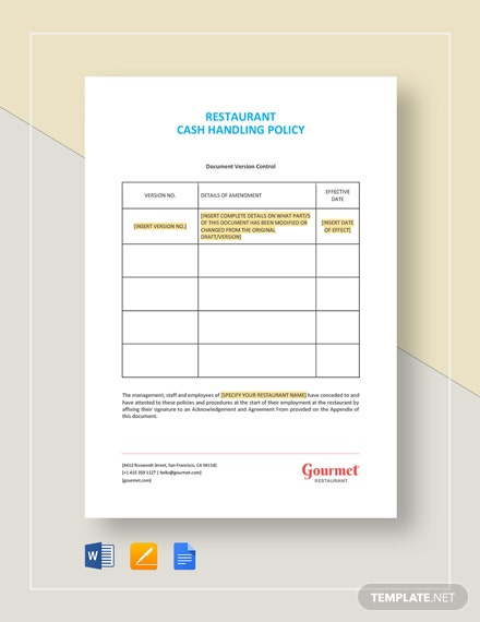 Restaurant Cash Handling Policy Template