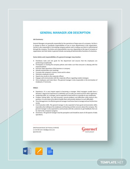 General Manager Job Description Template