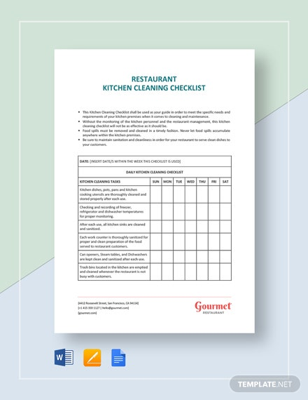 Restaurant Kitchen Cleaning Checklist Template