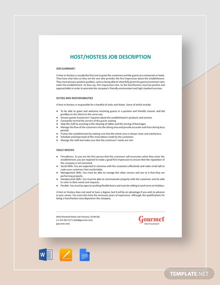 Host/Hostess Job Description Template