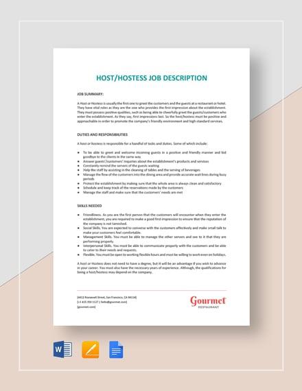 Host/Hostess Job Description Template