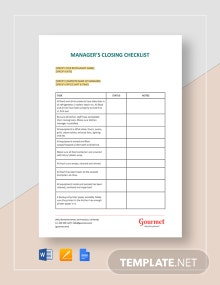 Manager's Closing Checklist Template