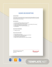 Busser Job Description Template