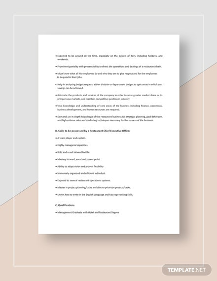 Restaurant Chief Executive Officer Job Description Template