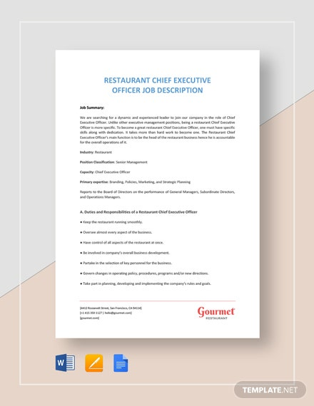 restaurant chief executive officer job description