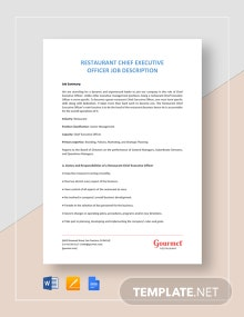 Restaurant Chief Executive Officer Job Description Template