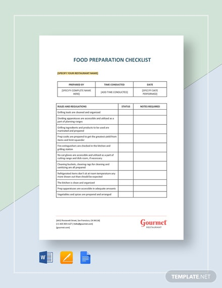 Food Preparation Checklist Template