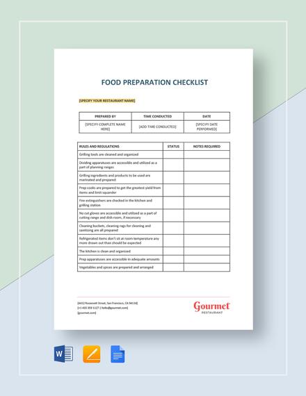 Food Preparation Checklist Template