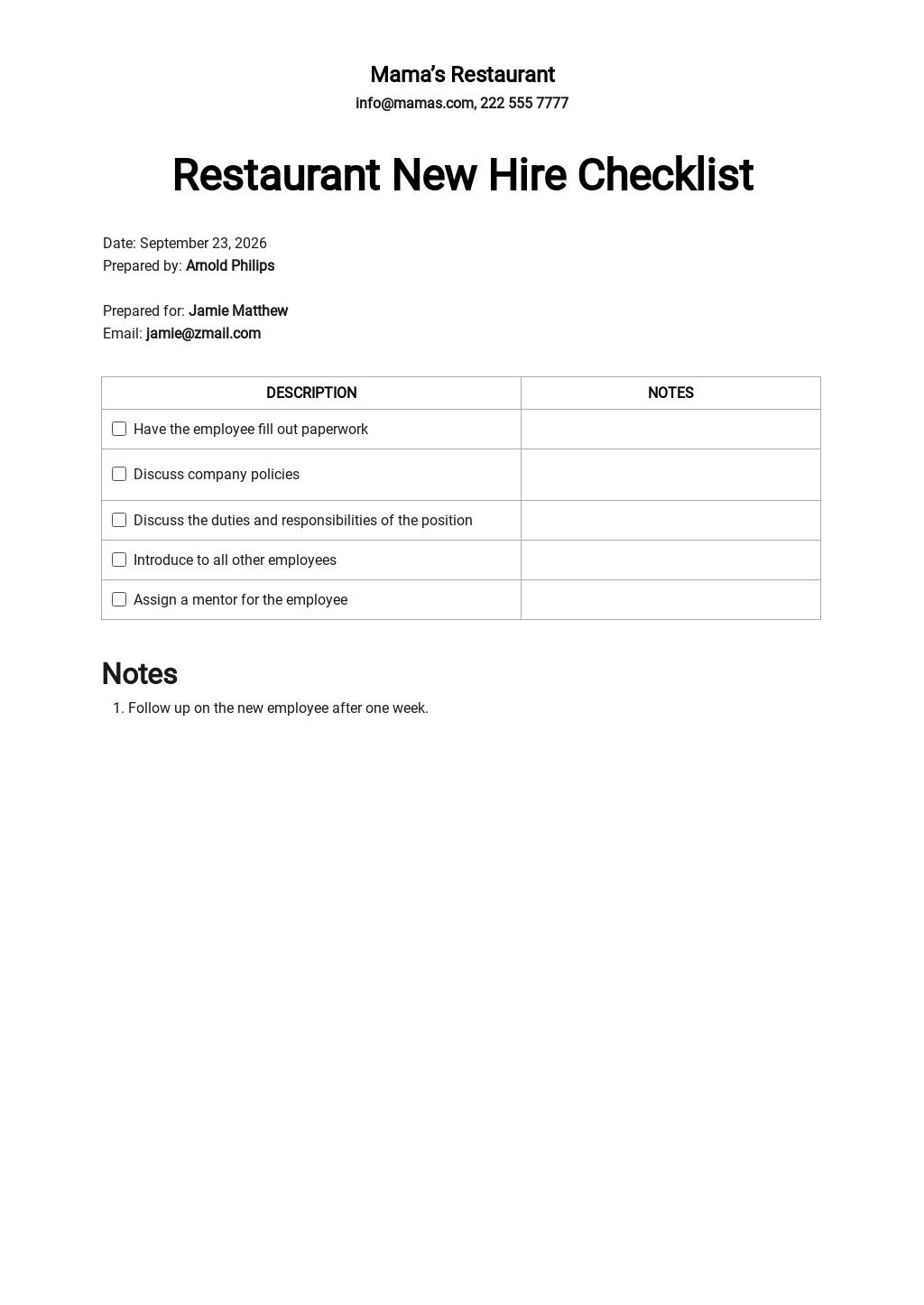 Restaurant New Hire Checklist Template.jpe