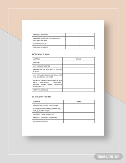Restaurant New Hire Checklist Template