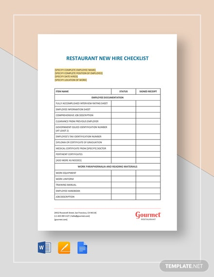 Restaurant New Hire Checklist