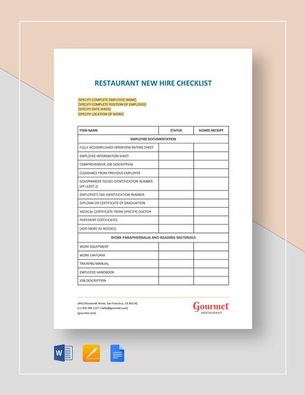 Restaurant New Hire Checklist Template