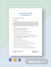 Restaurant Cashier Job Description Template