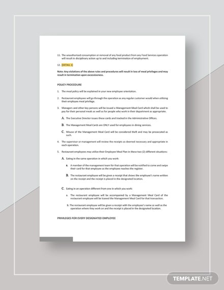 Restaurant Employee Meal Policy Template
