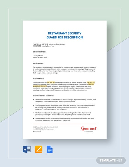 Restaurant Security Guard Job Description Template