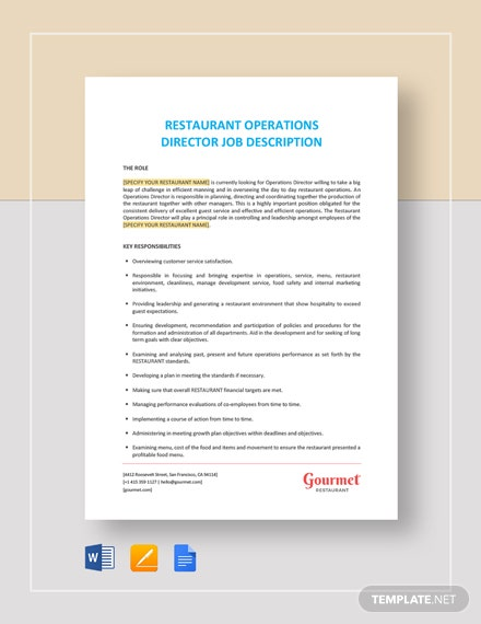 Restaurant Operations Director Job Description Template